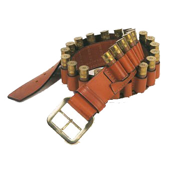 Suede lined shotgun cartridge belt holds 25 shot shells.