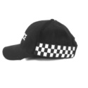 Baseball Cap with Lettering and Checked Strip